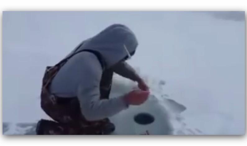 ظن أنه اصطاد سمكة من فتحة الجليد لكنه اصطاد شيء يستحيل توقعه !